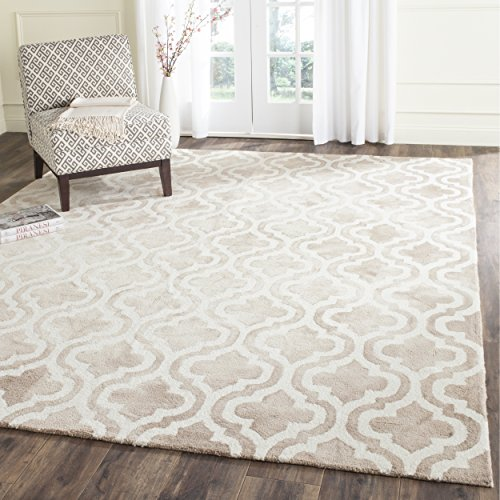 Safavieh Dip Dye Collection DDY537G Handmade Geometric Moroccan Watercolor Beige and Ivory Wool Area Rug (8' x 10')