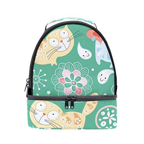 Alinlo mignon Dessin animé Chat Imprimé floral Boîte à lunch Sac isotherme Cooler Tote avec bandoulière réglable pour Pincnic à l'école