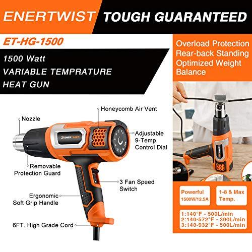 EnerTwist Heat Gun 1500 Watt Variable Temperature Control Hot Air Tool Kit Heating Protect for Shrink Wrap, Vinyl, Paint Removal, Wiring, Soldering, Crafts, Automotive, Tubing, Electronics Repair by ENERTWIST (Image #2)