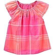 OshKosh B'gosh Baby Girls' Plaid Poplin Peasant Top, Pink, 24 Months