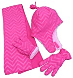 N'Ice Caps Little Girls and Baby Zig Zag Sherpa Lined Hat/Scarf/Mitten Set (4-6 Years, Fuchsia Chevron Print with Gloves)