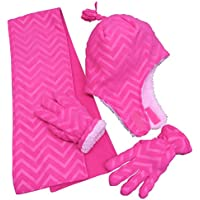 N'Ice Caps Little Girls and Baby Zig Zag Sherpa Lined Hat/Scarf/Mitten Set