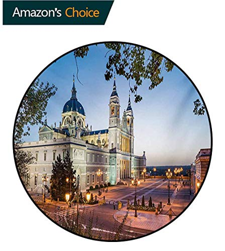 RUGSMAT European Non-Slip Area Rug Pad Round,Old Cathedral and Royal Palace in Madrid Mediterrenean City Europe Urban Print Protect Floors While Securing Rug Making Vacuuming,Diameter-55 -