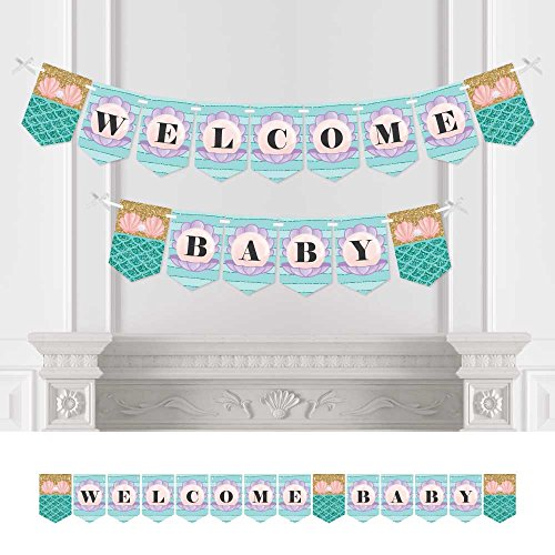 Big Dot of Happiness Lets Be Mermaids - Baby Shower Bunting Banner - Mermaid Party Decorations - Welcome Baby