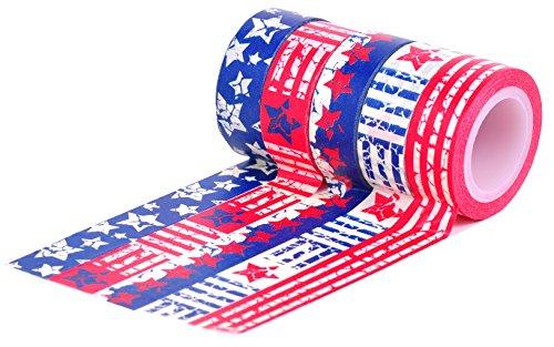 HIART Repositionable Washi Tape, American Flag, Set of 5