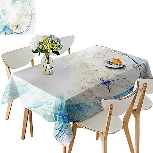 - UHOO2018 Polyester Tablecloth Blue Smoke Motion on White Bright dynami backgroun for Wallpaper Square/Rectangle Spillproof Tablecloth,50 x 81inch
