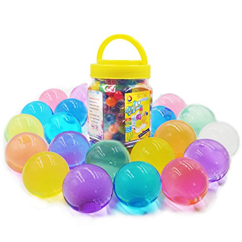 Jangostor Large Water Gel Beads 11 Ounces (300pcs) Gaint Water Jelly Pearls Rainbow Mix for Kids Sensory Playing, Wedding Home Decoration,Plants Vase Filler]()