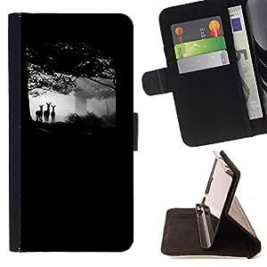 """For LG G4 Stylus / G Stylo / LS770 H635 H630D H631 MS631 H635 H540 H630D H542 ,S-type Bosque Negro Ciervos del bebé Cub Naturaleza"""" - Dibujo PU billetera de cuero Funda Case Caso de la piel de la bolsa protectora"""