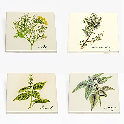 Amy Estes Art Decorative Art Tile Collection - Herbs Basil, Dill, Rosemary, Sage (Ceramic) Four 4.25