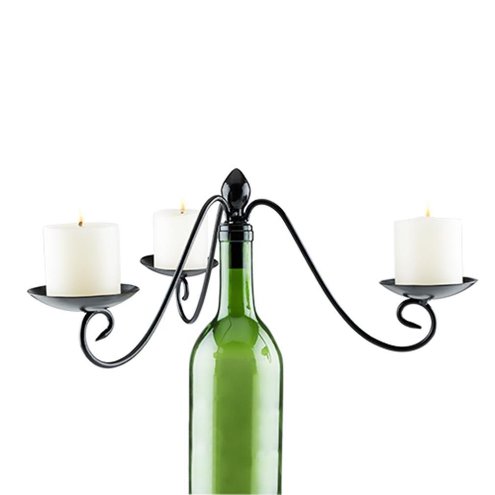 Twine 4994 Boulevard 3 Votive Wine Bottle Candelabra, Black