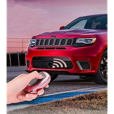 Cara for Jeep Key Fob Cover, Special Soft TPU Key Cover Protector Compatible with Jeep Renegade Compass,Dodge Journey,Fiat Freemont Viaggio Ottimo Keyless Smart Key Fob Case Black: Automotive