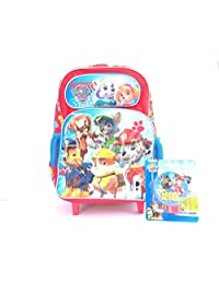New Red Paw Patrol Large Rolling Backpack with Night Light-kb