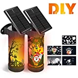 CINBOS Halloween Lights, LED Solar Wall Lights Outdoor for Christmas, Decorative Flickering Flames Night Lights, Auto On/Off, 5 Patterns Stickers for Garden/Porch/Patio/Yard - 2 Pack