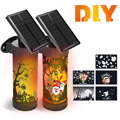 CINBOS Halloween Lights, LED Solar Wall Lights Outdoor for Christmas, Decorative Flickering Flames Night Lights, Auto On/Off, 5 Patterns Stickers for Garden/Porch/Patio/Yard - 2 Pack by CINBOS