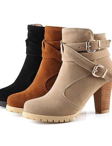 XZZ  Damenschuhe - Stiefel Stiefel Stiefel - Kleid   Lässig - Vlies - Blockabsatz - Rundeschuh   Modische Stiefel - Schwarz   Gelb   Beige B01L1GTU9S Sport- & Outdoorschuhe Hervorragende Funktion d80fb0