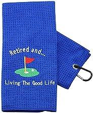 PXTIDY Funny Retired Gift Retirement Golf Towel for Women Men Retired and Living The Good Life Retired Golfer