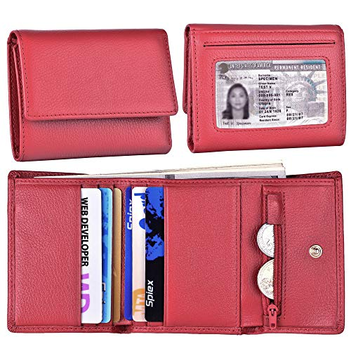 Women Small Wallet Genuine Leather Wallets Trifold Slim Credit Card Holder (Red)