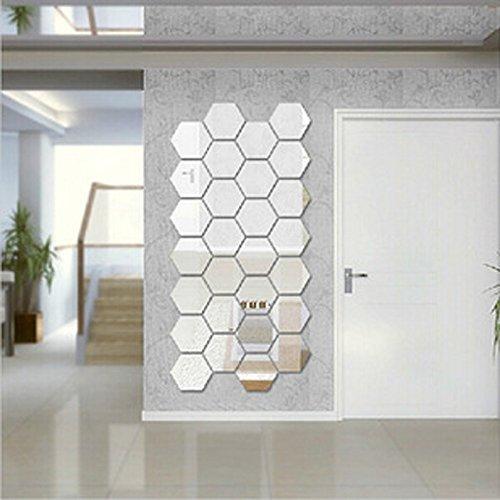 Pusheng Modern3D Spiegel, 12 Stück, geometrisches Sechseck, Acryl Wandtattoo, Dekoration