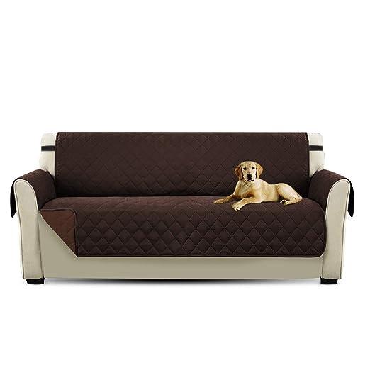 PETCUTE Cubre para Silla Fundas de Sofa Protector de sofá o sillón, Dos o Tres plazas Marrón 3 plazas