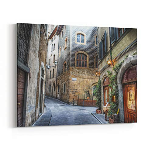 vas Wall Art Prints - Beautiful Narrow Street in Florence, Italy (18 x 12 inches) ()