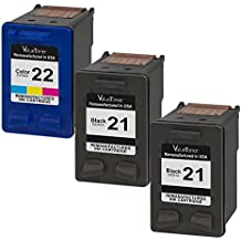 Valuetoner Remanufactured Ink Cartridge Replacement 3 Pack for HP 21 HP 22 (2 Black + 1 Tri-Color) C9351AN C9352AN for HP OFFICE 4315 1410,DESKJET F4180,F2210,D1420,F380,FAX 3180 1250,PSC 1401 Printer
