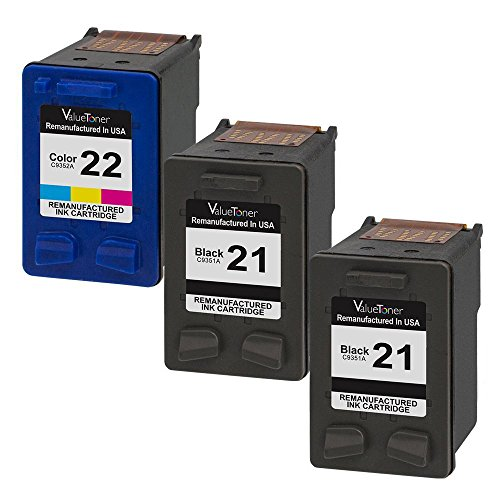 Valuetoner Remanufactured Ink Cartridge Replacement for HP 21 21XL HP 22 22XL of (2 Black, 1 Tri-Color) 3 Pack CB311BN C9351AN C9352AN for HP OFFICEJET 4315, DESKJET 3930, 3210, D1520, D1420 (Hp Inkjet 3180 Fax)
