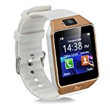 Padgene Bluetooth DZ09 Smartwatch Touch Screen with Pedometer Anti-lost Camera Support Android Apple system (Gold(with white band))