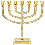 The Dreidel Company Menorah Seven Branch Traditional Mother of Pearl Inlay Design