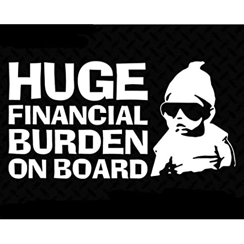 - 51r1ukm01cL - Huge Financial Burden on Board Funny Baby Carlos JDM Decal Vinyl Sticker Cars Trucks Vans Walls Laptop  White  6.5 x 3.5 in CCI1440