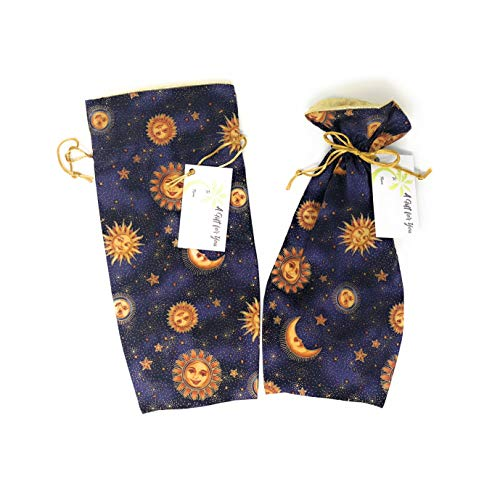 Celestial Sun Moon Fabric Reusable Drawstring Gift Bag | Eco-Friendly Alternative to Paper giftwrap for Wine Bottle | Christmas, Holidays | Cotton Cloth, Fully-Lined Lamé, 13.25