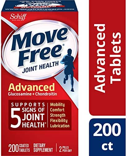 Glucosamine & Chondroitin Advanced Joint Health Supplement Tablets, Move Free (200Count In A Bottle), Supports Mobility, Flexibility, Strength, Lubrication & Comfort