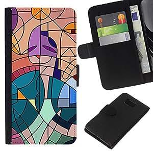 KLONGSHOP // Tirón de la caja Cartera de cuero con ranuras para tarjetas - Pintura Cubismo trullo artista Rosa Mujer - Samsung ALPHA G850 //