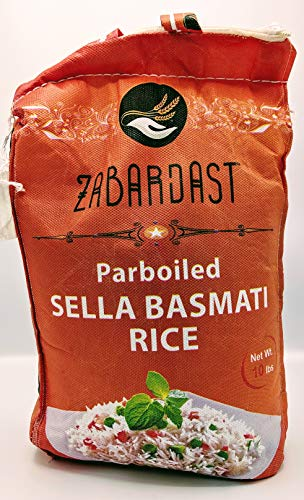 Cook Zest ZABARDAST Parboiled Golden Sella Basmati Rice (Premium Extra Long Grain | 10 Lb Bag) - Gluten Free, All-natural Gourmet Rice