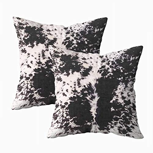 Musesh Pack of 2 black white cow hide print Cushions Case Throw Pillow Cover For Sofa Home Decorative Pillowslip Gift Ideas Household Pillowcase Zippered Pillow Covers 18X18Inch