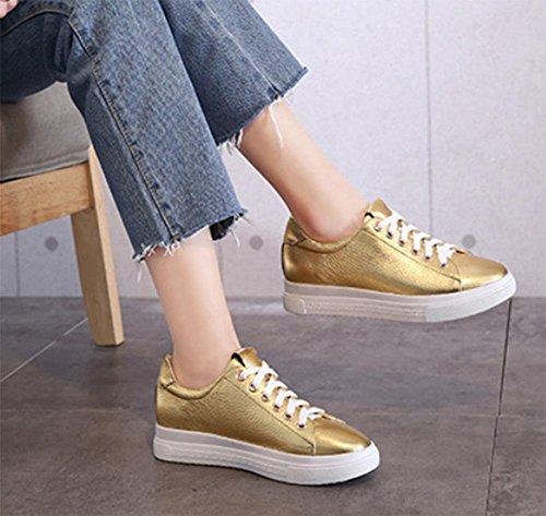 Gold las calzado de las zapatos Sra sencillos señoras mujeres casual aumentaron calzado de deportivo BnOxUfZP