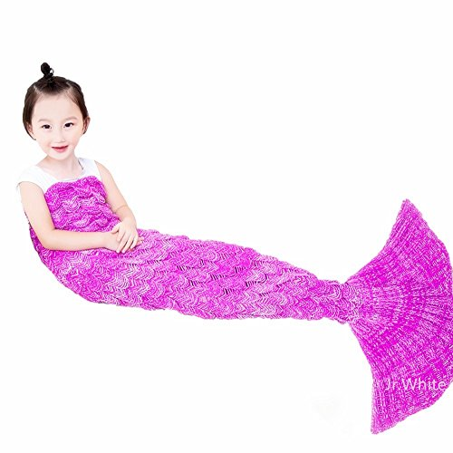 Mermaid Tail Blanket ,Hand Crochet Snuggle Mermaid,All Seasons Seatail Sleeping Bag Blanket for Kids,Teenage,Aduit by Jr.White (Kids, Pink) (Kids Snuggle Bag)