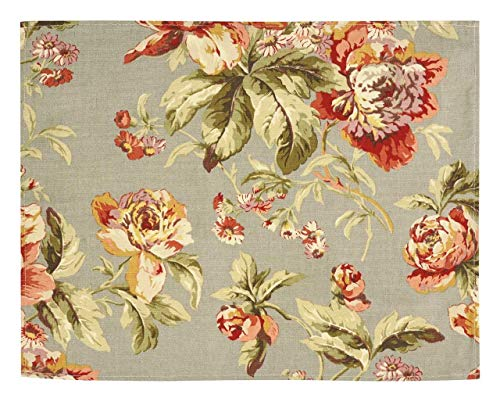 (Table Decorations Placemats Table Linens Place Mats Gray and Pink Floral Decor Set 4)