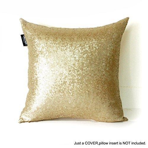 AMAZLINEN(TM) Decorative Glitzy Sequin & Comfy Satin Knit Throw Pillow Cover 18 x 18 Pillow Covers,Hidden Zipper Design(Champagne Gold) (Gold Pillow)