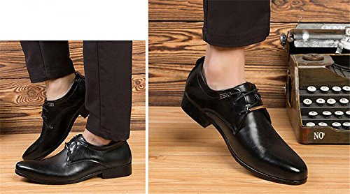 Toe Shoes Classic Lace Plain Brown up Casual Oxford Shoes Men's Business Dress qc0Bwpqg