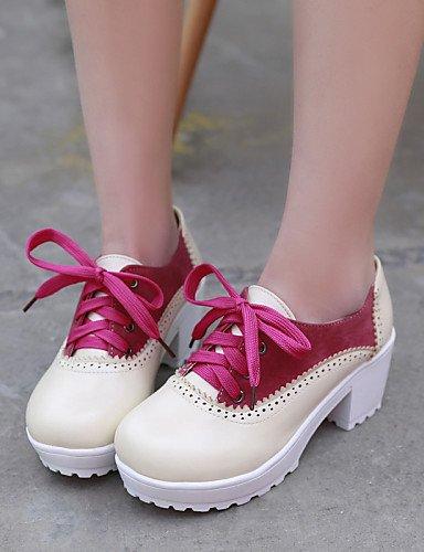 a marron Uk4 us6 Femme 5 similicuir Red Plateau Bout Chaussures 7 5 habillé 5 Arrondi Talon Rouge Njx Cn37 gros talons Eu37 Hug wpIqHwZ8