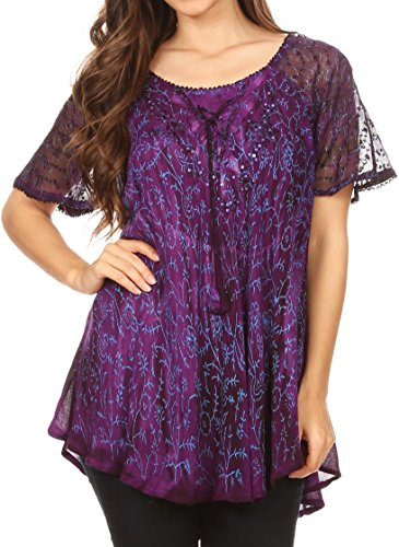 Sequin Tie Dye - Sakkas 18716 - Catia Casual Short Sleeves Tie-dye Blouse Top with Embroidery and Sequin - Purple - OSP
