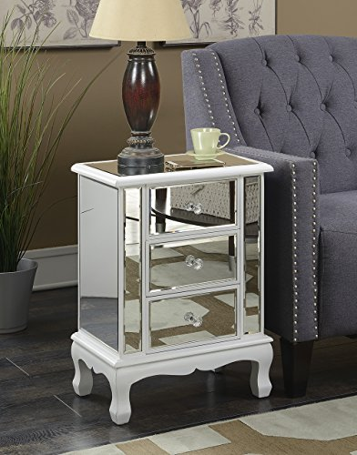 - Convenience Concepts Gold Coast Vineyard 3 Drawer Mirrored End Table, White
