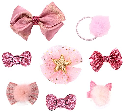 Dog Hair Accessories Small Bows Pet Grooming Tiny Clips Mix Colors Varies Patterns 8pcs