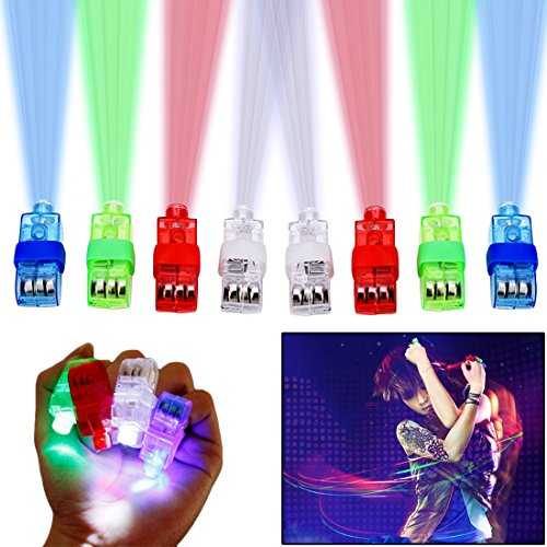Party Favor Finger Lights - Led Party Finger Lights 40 Pc | Multicolor Novelty Finger Beams Set | Bright Raving Strap on Finger | Fun Pointers for Parties and Shows |