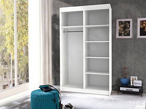 Armario Nero 120, elegante Dormitorio Armario con espejo, 120 x ...