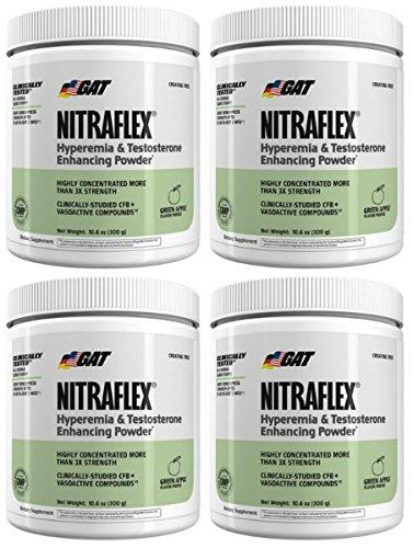 GAT Nitraflex Pre Workout 300mg, 4 PACKS (GreenApple) by Nitraflex