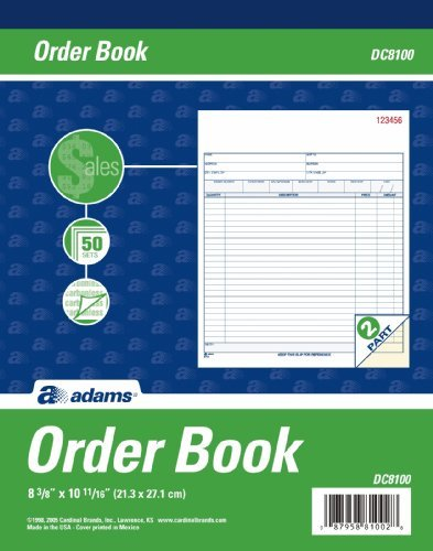 Adams Sales Order Book, Carbonless, White And Canary, 2-Part, 50 Sets, 10.69 X 8.38 Inches (Dc8100) (Pack of 5)