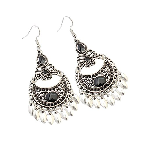 Drop It Bangles (Auwer Earrings, European And American Retro Fashion Hollow Crescent Leaf Earrings (C))