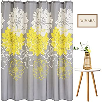 Wimaha Peony Flower Fabric Shower Curtain Mildew Resistant Waterproof  Standard Shower Bath Curtain For Bathroom Yellow