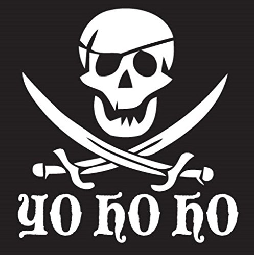 Yo Ho Ho Pirate Decal Vinyl Sticker| Cars Trucks Vans Walls Laptop|WHITE|5 X 5.3 In|KCD301